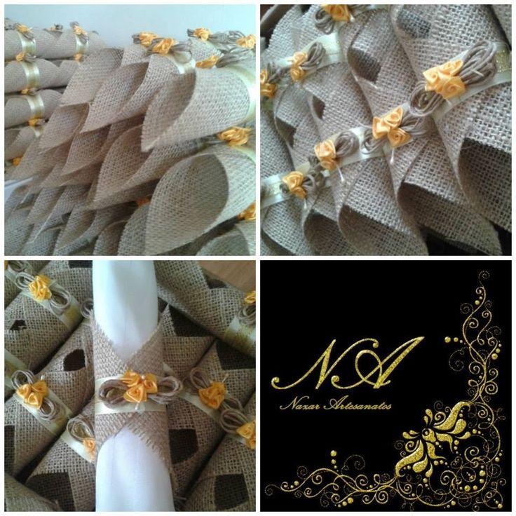 Porta Guardanapo em Juta em forma de Losango  Tanto as fitas como as flores podem ser de qualquer cor, se adaptando as cores do seu evento.