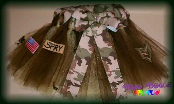 Army Tutu by booboostutus1 on Etsy, $25.00  What Rose will be wearing when we pick up Daddy this weekend