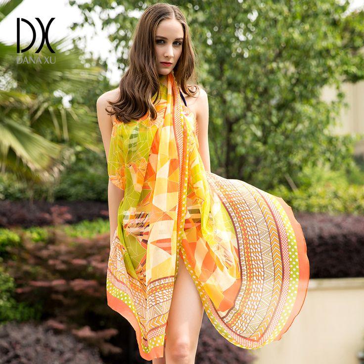 ==> [Free Shipping] Buy Best New Sexy Silk hijab Scarves Summer Wear Beach Cover Up Pareo Sarongs Bikini Dress Scarf Wrap Foulard 110245cm Bandana Online with LOWEST Price | 32812377715