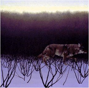 Coyote and Alders, 1995, acrylic on panel, 68 x 68 cm...  Alex Colville