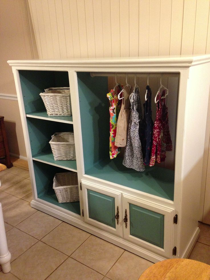 Entertainment center made into a kids closet