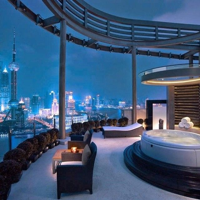 How about a private rooftop Jacuzzi with sweeping views of Shanghai at Hyatt on the Bund?