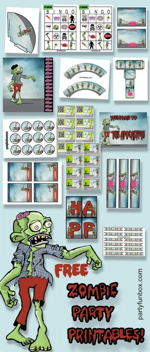 Free Zombie Printables from Party Fun Box.                                                                                                                                                                                 More