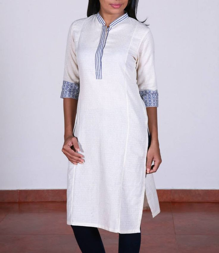 Shop for this collection at http://www.shalinijamesmantra.com/classic-creme/off-white-collared-cotton-kurta.html #collared kurta#offwhite collared kurta online#mantra collared kurta