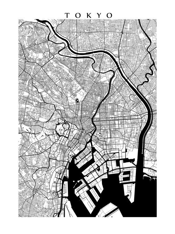 Tokyo Map Print Black and White by CartoCreative on Etsy