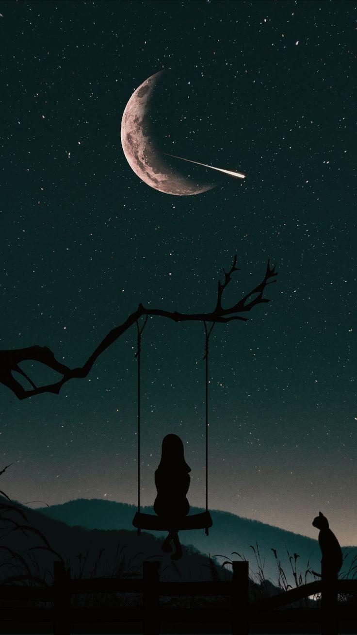 Phone Wallpaper Sky Handyhintergrundbild Einsam Am Nachthimmel Lonely In The Night Sky Wa Einsam Himmel Lo Night Sky Wallpaper Sky Anime Scenery Wallpaper