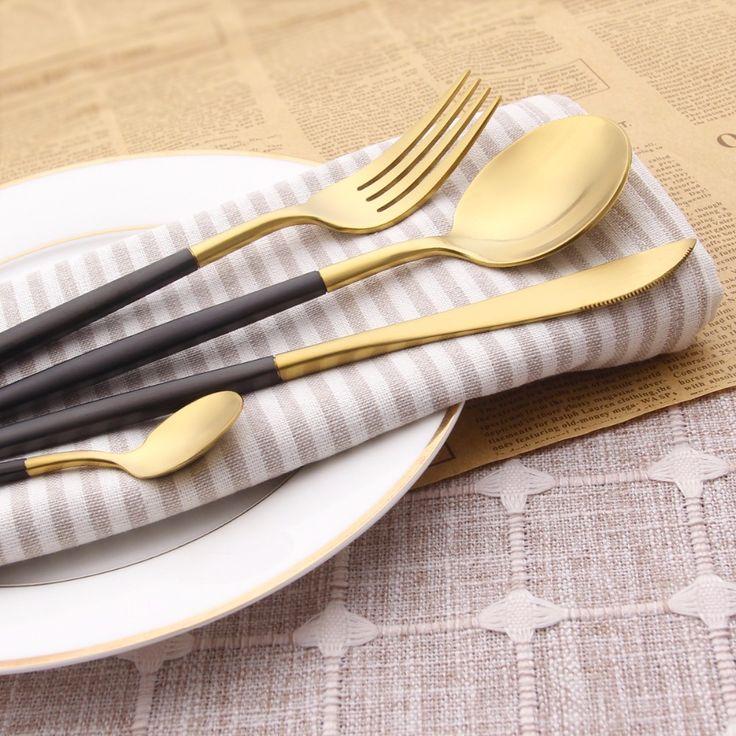 4 Unids/lote Haldle Negro Set de Cubiertos de Oro 18/10 Juego de Cubiertos de Acero Inoxidable Tenedor Cuchillo Cucharas Sliverware Set Home Vajilla Conjunto