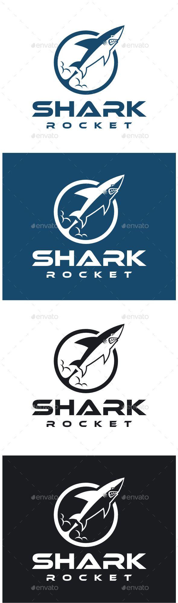 Shark Rocket Logo — Vector EPS #fin #predator • Available here → https://graphicriver.net/item/shark-rocket-logo/8813538?ref=pxcr
