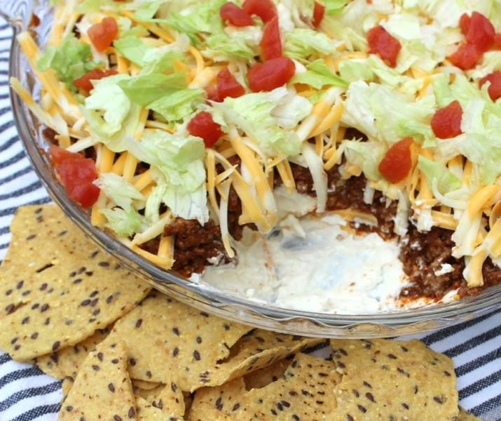 Ingredients    1 (8 ounce) package cream cheese, softened  1 (16 ounce) container nonfat sour cream  1 (1.25 ounce) package taco seasoning mix  1/4 head iceberg lettuce – rinsed, dried, and shredded  1 cup shredded Cheddar cheese  3 chopped tomatoes  1 green bell