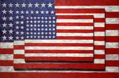 Three Flags by Jasper Johns, 1958. Displayed in Whitney Museum of American Art in New York.