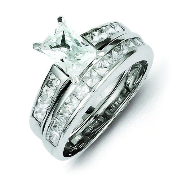 Sterling Silver 2 piece CZ Wedding Set Ring Wedding Ring Sets Under $1000