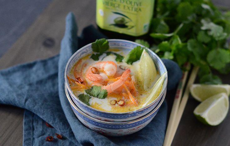 Soupe thaï de crevettes, huile d'olive Bio #recette #soupe