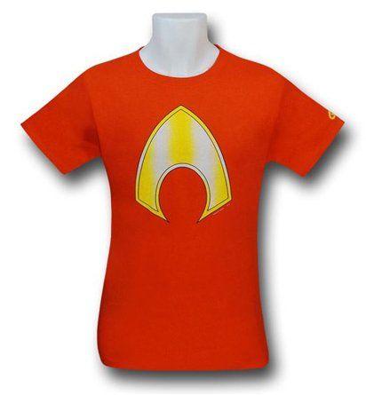The 100% cotton Aquaman Symbol Orange T-Shirt displays the Aquaman 'symbol' on a fine orange shirt! From DC Comics...and maybe Atlantis. Maybe.