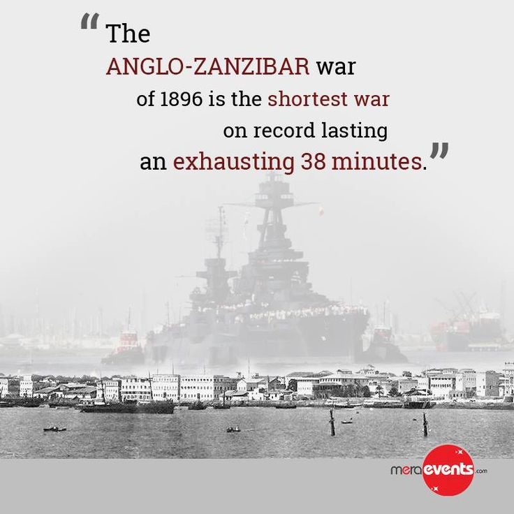 The Anglo-Zanzibar War of 1896 is the shortest war on record lasting an exhausting 38 minutes. #MeraEvents #War