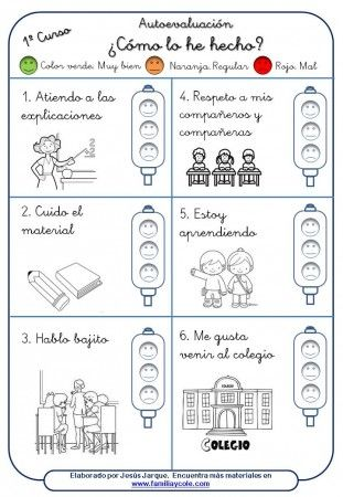 material para la autoevaluación del alumnado, primer curso