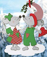 Fensterbilder für Weihnachten: Mäuschen-Fensterbild basteln