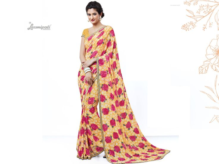 Wear this Yellow Georgette Saree with Fancy Yellow Printed Blouse along with Bhagalpuri Silk Printed Lace Border from Laxmipati at an upcoming special occasion and let every eyes follow you. #Catalogue #SURPREET  Price - Rs. 1331.00  #Sarees #ReadyToWear #OccasionWear #Ethnicwear #FestivalSarees #Fashion #Fashionista #Couture #LaxmipatiSaree #Autumn #Winter #Women #Her #She #Mystery #Lingerie #Black #Lifestyle #Life 