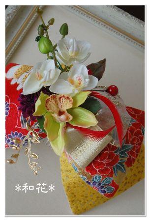 和のヘッドドレス 和装髪飾り リボン 和花
