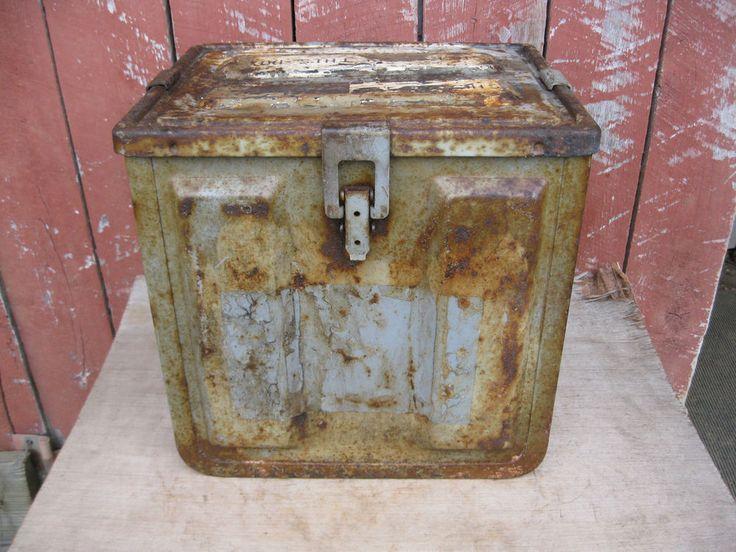 Large Vintage AMMO BOX CHEST metal WWII Era?