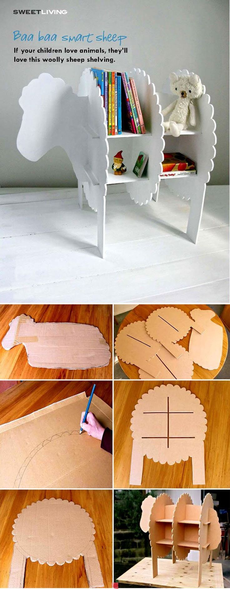 Ecco coe relizzare una bella libreria o un bel scaffale su cui riporre libri ed oggetti.  http://laboratoriperbambini.altervista.org/blog/laboratori-per-bambini-libreria-cartone/