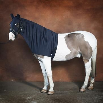 Weatherproof turnout horse hood from Snuggy Hoods.