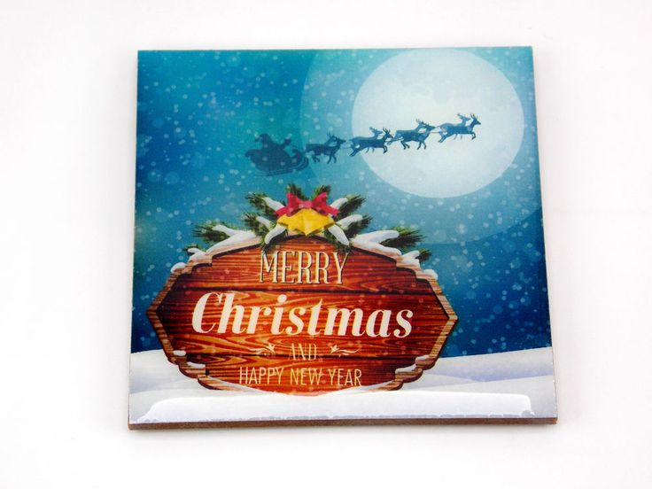 Merry Christmas Sleigh Moon Santa Claus Drink Coaster Unique Gift Wood by Osarix