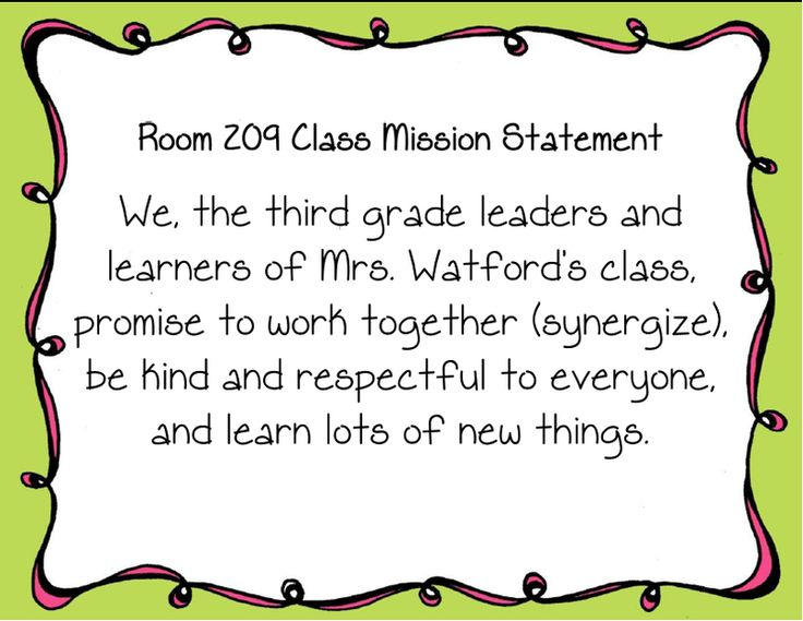class mission statement third grade - Google Search