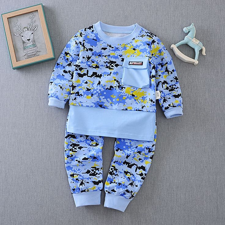 >> Click to Buy <<  Spring Boys Infant Camouflage Print Hoodies Tops + Full Length Trousers Casual Baby's Sets Kids 2Pcs Suits roupas de bebe #Affiliate