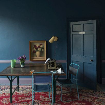 Farrow and Ball Stiffkey Blue paint - our favourite color from the new range, as used in our studio..