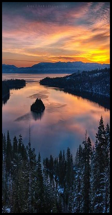 Sunset at Emerald bay, Lake Tahoe #photo by Alex T Sam #amazing landscape nature forest mountain