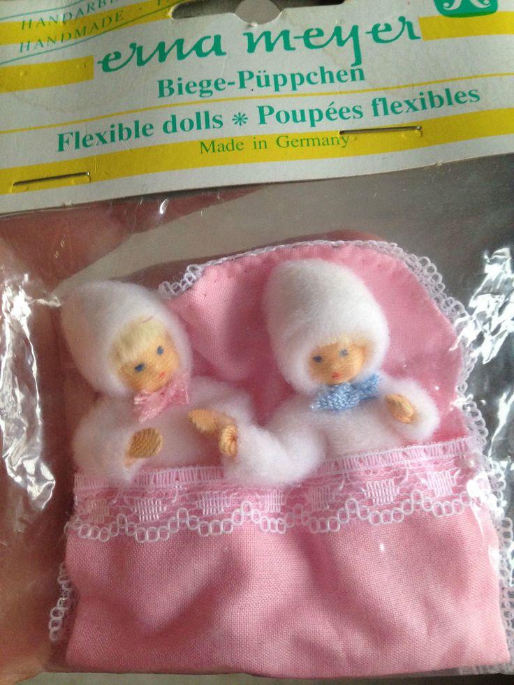 Vintage Erna Meyer Beige Dollhouse Baby Dolls Twins Set 2 BOY & GIRL IN BUNTING | eBay