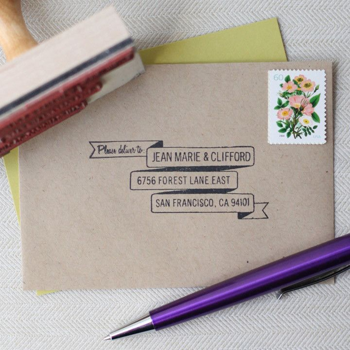 Designed with your RSVP cards in mind, this custom address stamp pairs perfectly with my 3-tier Banner return address stamp. Simply stamp this vintage inspired design on the front of your rsvp card en