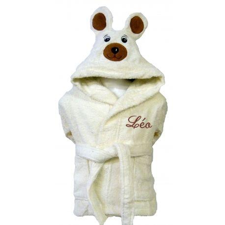 Peignoir de bain tête d'ours personnalisé