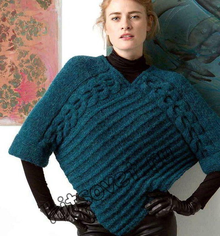 Вязание пуловера пончо, фото.