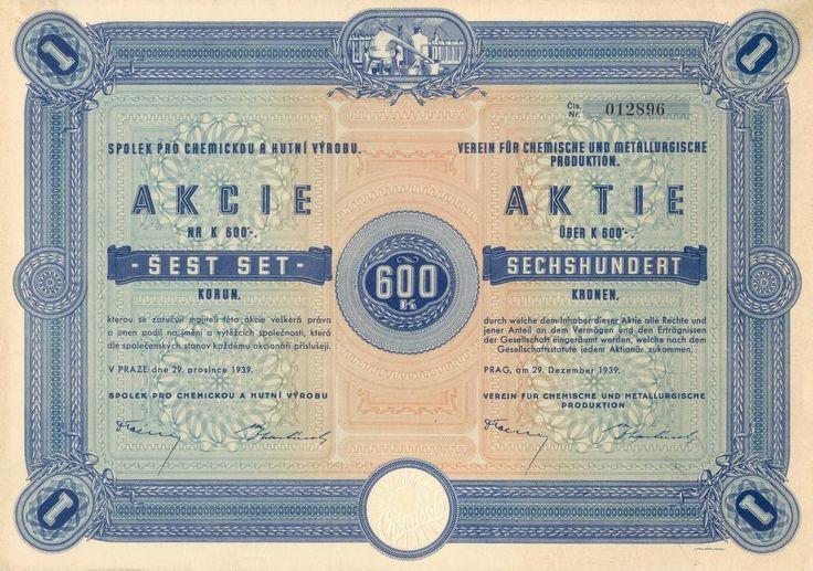 Spolek pro chemickou a hutní výrobu (Verein für chemische und metallurgische Produktion). Akcie na 600 Korun. Praha, 1939.
