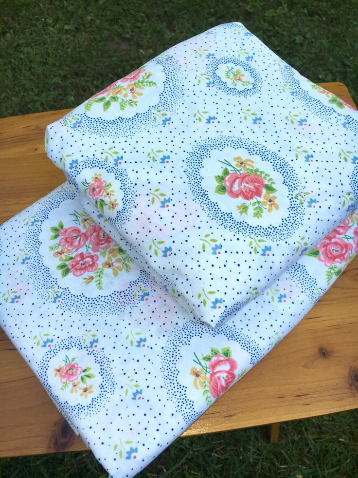 Vintage Twin Flat & Fitted Sheet Set Victorian Blue and Rose Pink Floral- Cottage, Shabby, Cabin, Flea Market, Farm, Quilt, Sew, Fabric by BlueRidgeRevivals on Etsy https://www.etsy.com/listing/399647145/vintage-twin-flat-fitted-sheet-set
