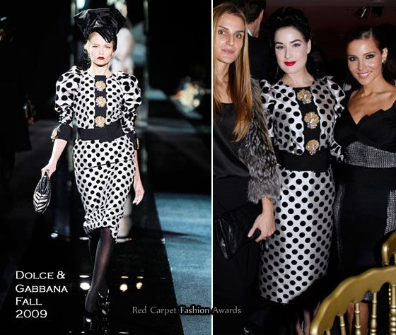 I'm so upset I couldn't find a full-length picture of Dita von Teese, but I will guess she was wearing Louboutin's with her Dolce & Gabbana Fall 2009 polka dot dress.