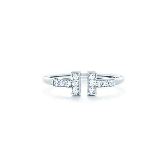 ティファニー T ワイヤー リング ダイヤモンド 18Kホワイトゴールド