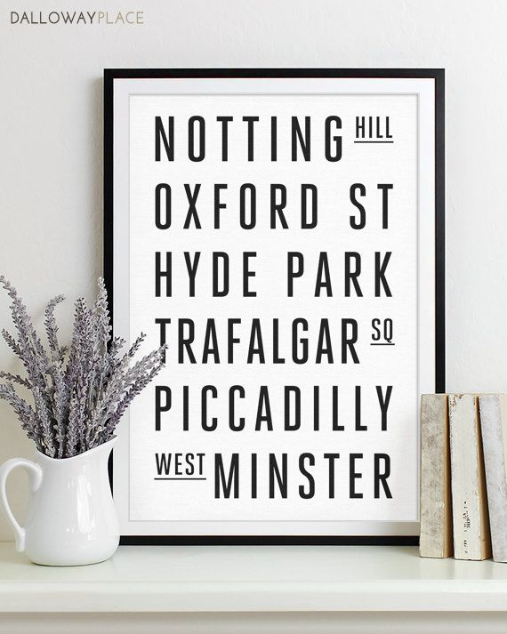 London Subway Sign - Typography Print - Modern Home Decor - Art Poster 12x18. $20.00, via Etsy.