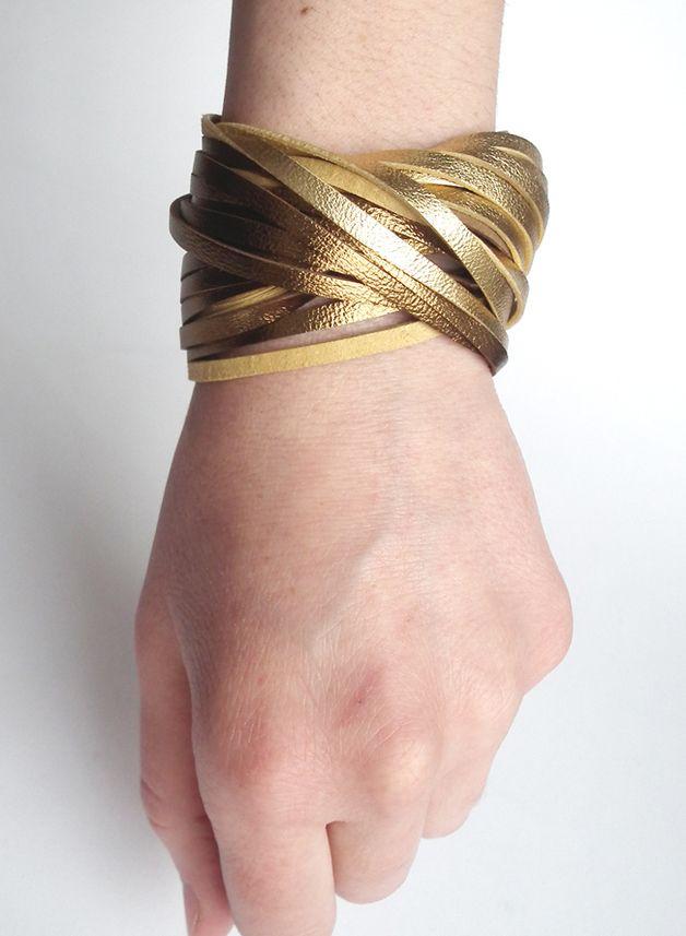 Bransoletka skóra złoto TWISTed - Mikashka - Bransoletki skórzane