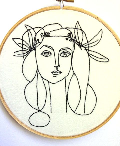 This embroidery is based off of one Picassos line drawings. I love his line drawings for their elegant simplicity and I find that they translate