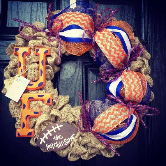 UF Florida Gators Burlap wreath // Blue // Orange // Chevron // Polka dot // Football on Etsy, $93.00