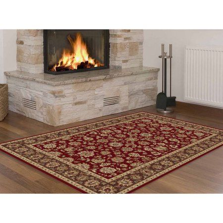 Bliss Rugs Danbury Traditional Area Rug, Red