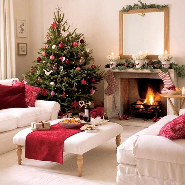 Living Room, Fancy Christmas Themed Living Room With Christmas Tree Amp Mantel Decoration And White Puffy Sofabeds Featuring Fireplace: Christmas Living Room Decorating Ideas