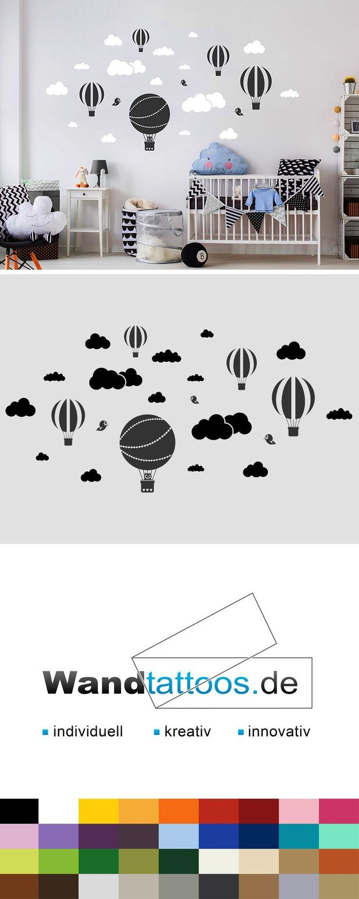 Wandtattoo Heißluftballons mit Wolken und Vögeln