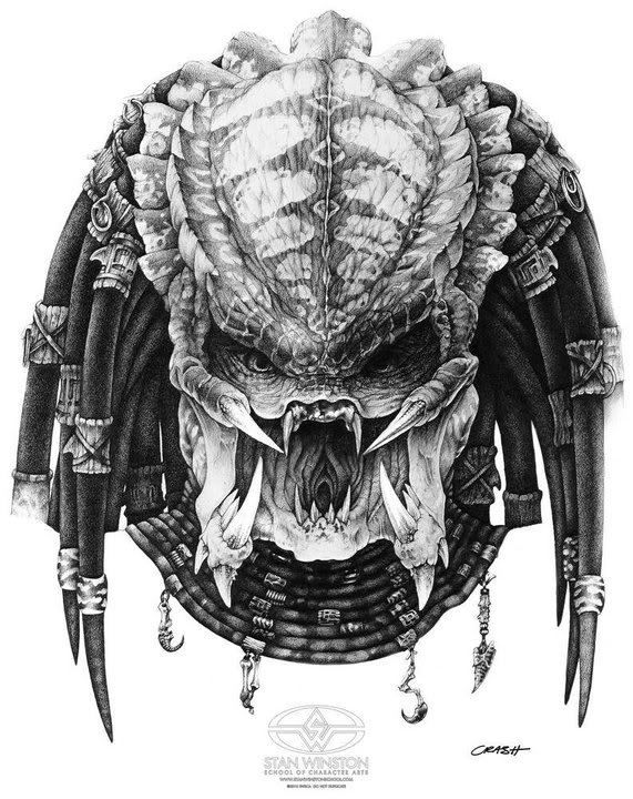 Science Fiction Cult Classics Predator Concept Drawing By Mark