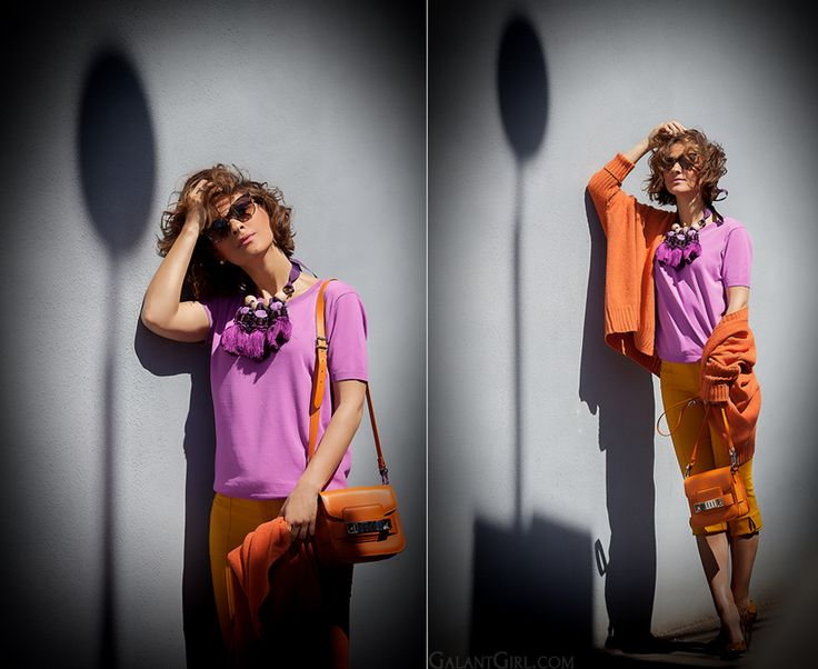 color block outfit with statement necklace and Proenza Schouler PS11