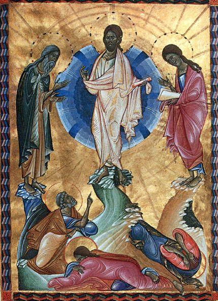 Toros Roslin (1210 – v. 1270) : la Transfiguration du Christ. Miniature arménienne de l'Evangile de la reine Keran (MS. 1965). Vers 1265 – 1272.  Jérusalem, Patriarcat arménien.
