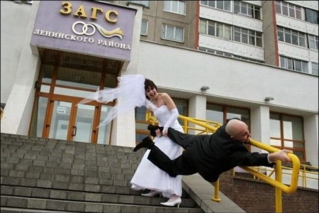 "Unusual ""pre""wedding photo...haha! Would make a super FB profile pic to load just after the nuptials!"