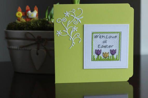 Happy EASTER handmade card, Lime green card, cross stitch card, greetings card, cross stitch gifts, easter gifts, handmade Card, with LOVE
